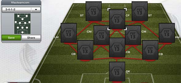 FIFA 13 Ultimate Team Formations - 3-4-1-2