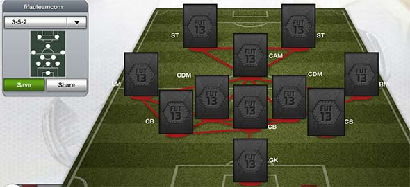 FIFA 13 Ultimate Team Formations - 3-5-2
