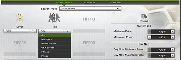FIFA 13 Ultimate Team Staff Search