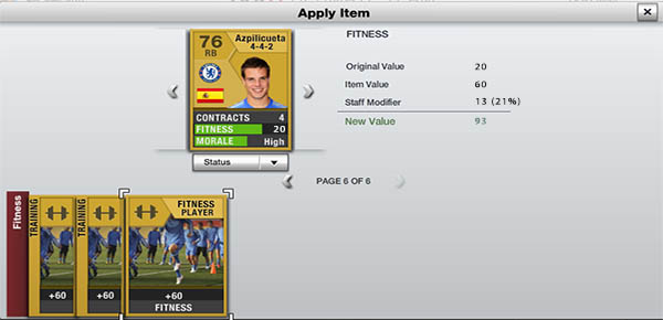 FIFA 13 Ultimate Team Staff - Fitness Coaches Effect