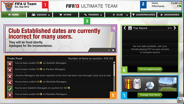 FUT 13 Web App - Main Menu