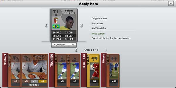 FUT 13 Web App - Apply Items