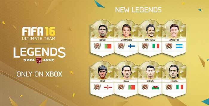 Novas Lendas de FIFA 16 Ultimate Team para XBox