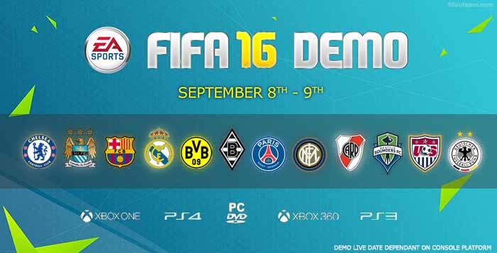 Demo de FIFA 16 - Datas, Equipas, Download e Mais Informações