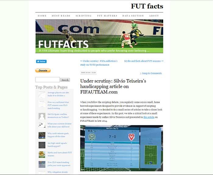 Review de FUT Facts - O Site Onde o Handicap de FIFA Termina