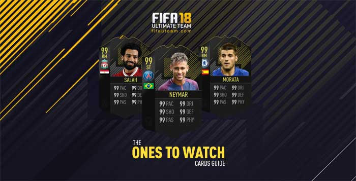 Cartas de Jogadores para FIFA 18 Ultimate Team - Cartas Ones to Watch